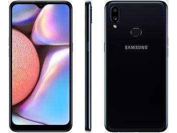 "Smartphone Samsung Galaxy A10s 32GB Preto – 4G 2GB RAM 6,2"" Câm. Dupla + Selfie 8MP"
